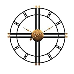 Aero Snail 20 Metal Wall Clock Decorative Round 3D Hollow Non-Ticking Silent Roman Numeral Office Home Hanging Clocks