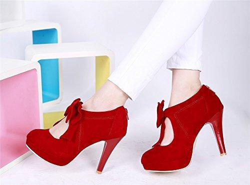 Tacco Comfort Rosso SHINIK pelle B scarpe Estate Scarpe per Tacchi scarpe scamosciata casual donna alto Bow Beige da Nero in 4WSv6q4