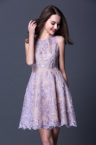 Formal cotyledon Neck Dresses Lace Dress Scoop Sleeveless Embroidery Women`s wErwpqf