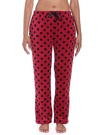 Women's Coral Fleece Plush Lounge Pants - Polka Dots - Red/Black - XS