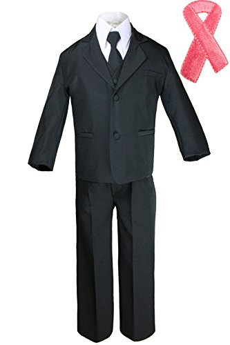 5pc Baby Boy Teen Black Suit w/Cancer Awareness Ribbon Adhesive Love Hope Patch (5, Add Pink Ribbon) by Unotux (Image #1)