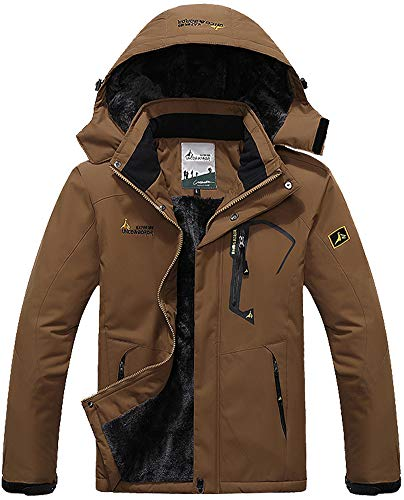 MAGCOMSEN Rain Jacket Men Waterproof Jacket Snowboarding Travel Walking Ski Skiing Coat Winter Raincoats for Men Windbreaker Coffee Brown