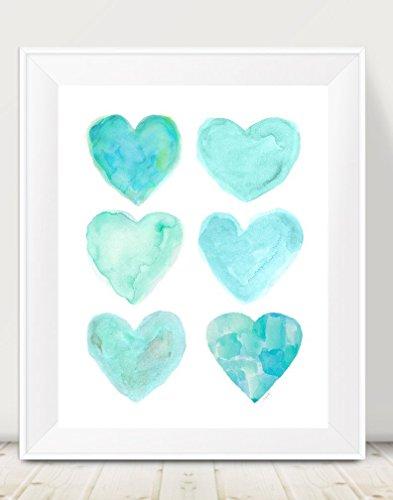 Aqua Wall Decor, 11x14 Hearts Collage Print, UNFRAMED (Seafoam Green Wall Decor)