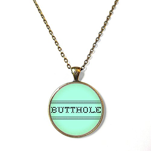 Mint Green Faux Cross Stitch Butthole Necklace, 18