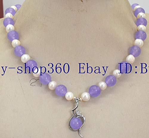 FidgetKute 7-8mm White Pearl&10mm Round Lavender Purple Jade Gemstone Pendant Necklace - Purple Pendant Jade