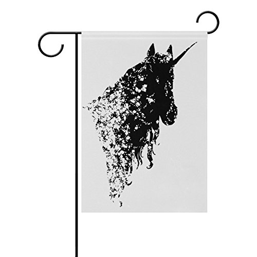 WIHVE Black And White Unicorn Horse Head Garden Flag Banner 28 x 40 Inch for Anniversary Seasonal Home Outdoor Garden Decor - Double Sided