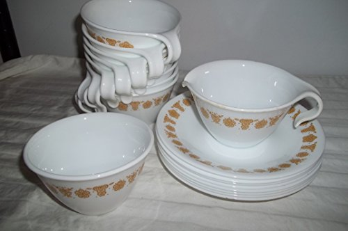 Corelle Butterfly Gold - 8 Corelle Hook Handle Cups & Saucers Gold AKA Golden Butterfly w Sugar and Creamer