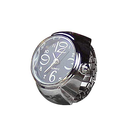 Windoson Couple Ring Watch Lovers' Watch Dial Quartz Analog Creative Steel Cool Elastic Finger Ring Watch (Black)