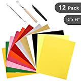 Heat Transfer Vinyl Assorted Colors - 12 Sheets - 12'' x 10'' - Iron On HTV for T Shirts, Hats, Clothing Heavy Duty Vinyl for Silhouette Cameo, Cricut Or Heat Press Machine Tool