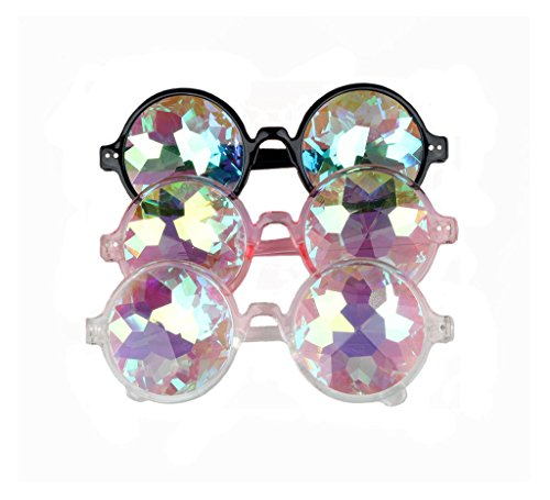 Hallowmas Cosplay Goggles, Crystal Rave Lens Kaleidoscopic Prism Glass for Christmas