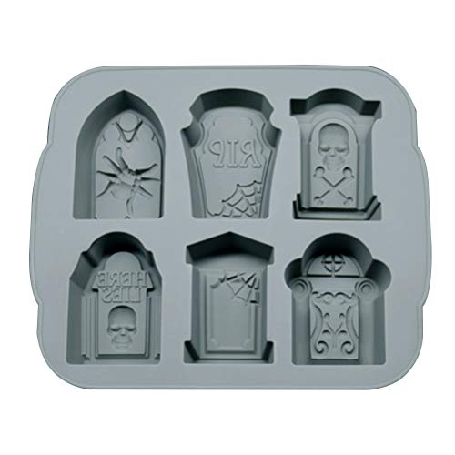 (1pcs Halloween Tombstone Ice Mold Cocktails Whisky Silicone Ice Tray Ice Cube Maker Ice Cube Chocolate Mold Bar Party Accesory (GRAY))