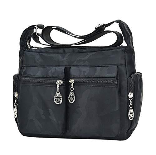 Messenger Camo Bag handbags Pocket Multi Casual Bag Daypack Crossbody Women's Shoulder Travel black gwqZO