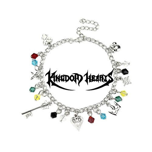 High School Musical Heart Necklace - Kingdom Hearts 7 Charms Lobster Clasp Bracelet in Gift Box by Superheroes