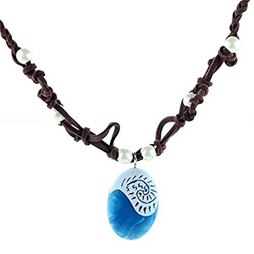 REGOU Seashell Blue Pendant Magical Seashell Pendant Faux Leather and Resin Necklace Costume Necklace for Girls Halloween Party -