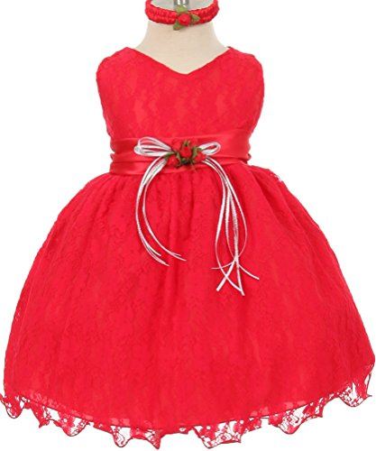 Red Cropped Satin Gloves (Little Baby Girls Lace Overlay Princess Special Flower Girls Dresses Red 24M (S30H26))