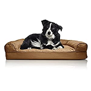 FurHaven Orthopedic Dog Couch Sofa Bed for Dogs and Cats, Large, Toasted Brown