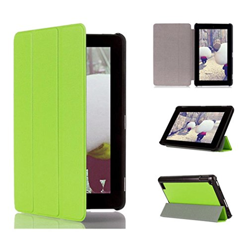 Tiean Tri-Fold Leather Stand Case Cover for Amazon Kindle Fire 7inch 2015 (Green)