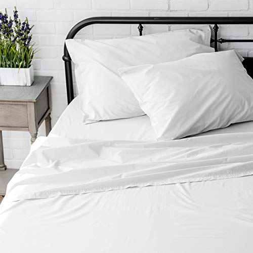 Welhome Full Size Sheet Set - 4 Piece - 100% Cotton Washed Percale - Breathable - Soft and Cozy - Deep Pocket - Easy fit - White