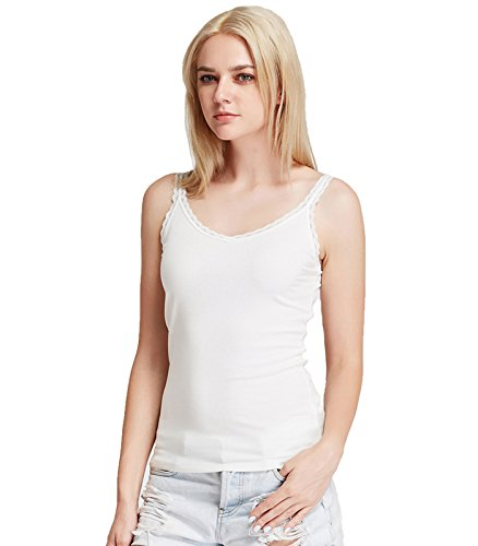 Liang Rou Women's Ribbed Knit Lace Camisole V-Neck Off-White M -