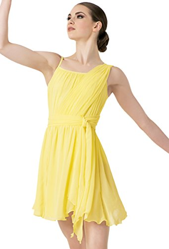 Contemporary Ballet Costumes (Balera Dress Girls Costume For Dance One Shoulder Tie Waist Dress With Briefs Lemon Adult Small)