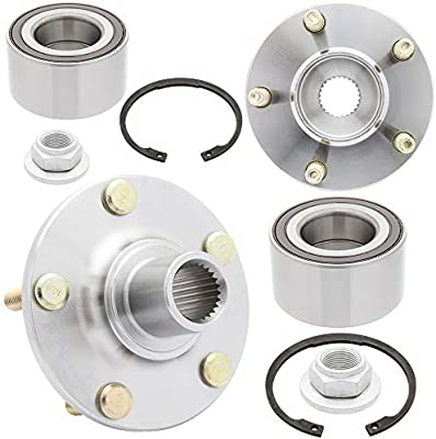 2-Pack Front Driver and Passenger Side Wheel Bearing with Kit for 2010-2013 Ford Transit Connect Includes Axel Nut and Snap Ring 510106K Cross Reference: WKH6520, WB000049, WB510106 QJZ