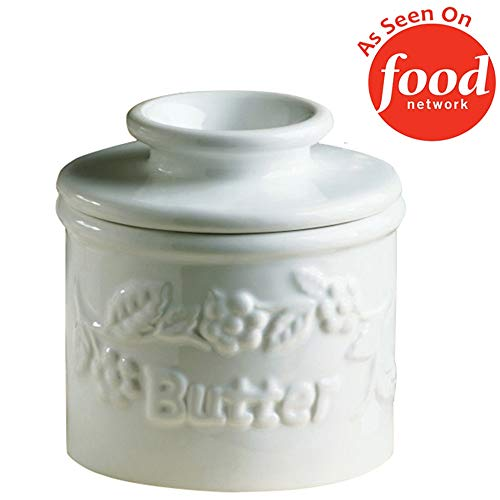 - The Original Butter Bell Crock by L. Tremain, Specialty Crocks, Classic - White Raised Floral