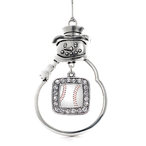 Inspired Silver - Baseball Charm Ornament - Silver Square Charm Snowman Ornament with Cubic Zirconia Jewelry ()
