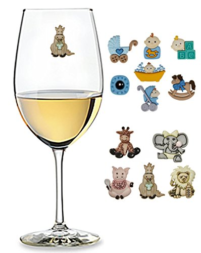 Baby Shower Wine Charms Two Styles Baby Animals Set of 5 or Baby Boy Set of 7 - Baby Shower Decorations by Charm Your Drink, LLC