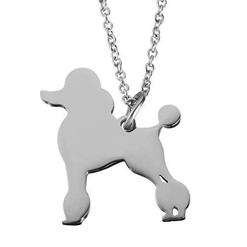 Jewelady Animal Lover Gifts Stainless Steel Animal Charm Pendant Necklace (Poodle)