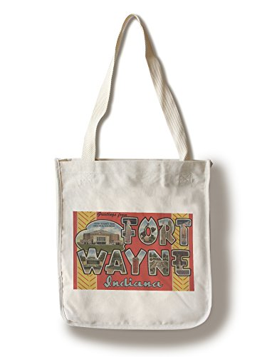Fort Wayne, Indiana - Large Letter Scenes (100% Cotton Tote Bag - Reusable, Gussets, Made in (Fort Wayne Indiana Shopping)