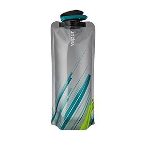 Vapur 10258 - Element 1.0L Foldable Flexible Water Bottle w/ Carabiner (Grey/Teal)