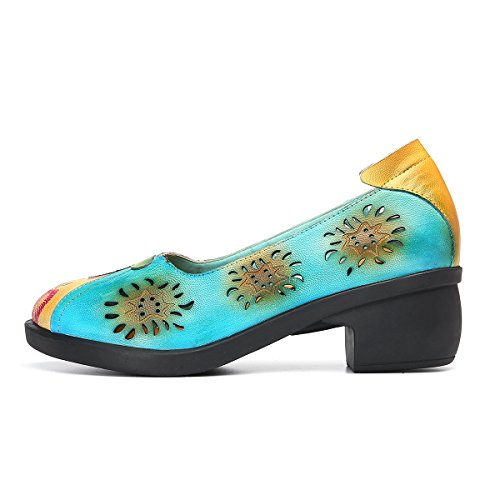 gracosy Womens Mary Jane Shoes Leather Pumps Shoes Ladies Mid Heel Round Toe Wedge Party Sandals Handmade Outdoor Walking Casual Soft Sole Shoes Summer Work Court Retro Spilicing Pattern Blue 8sBmmTnpJ5