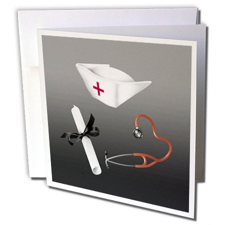 (Nurses Cap, Diploma, and Stethoscope, Black and Red - Greeting Card, 6 x 6 inches, single)