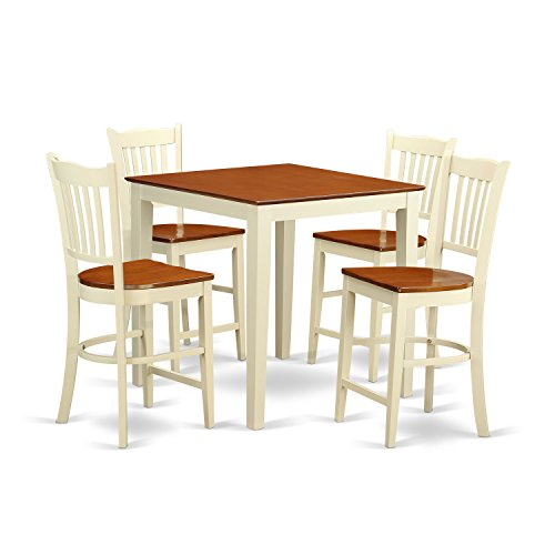 East West Furniture VNGR5-WHI-W 5 Piece Pub Table and 4 Counter Height Chairs Set For Sale