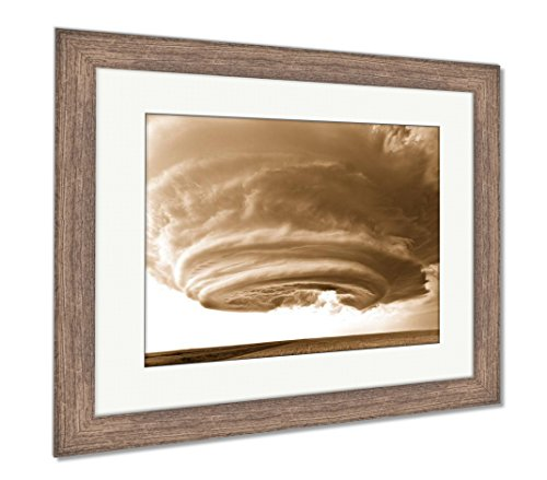 Ashley Framed Prints Severe Thunderstorm in The Great Plains, Wall Art Home Decoration, Sepia, 26x30 (Frame Size), Rustic Barn Wood Frame, AG6095506