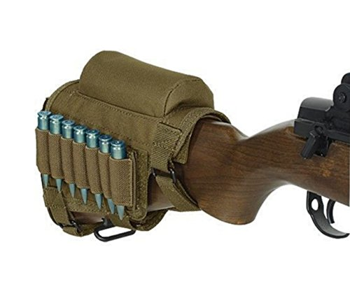 Rifle Buttstock, Adjustable Tactical Cheek Rest Pad Ammo Pouch with 7 Shells Holder for Hunting Shooting (Khaki)