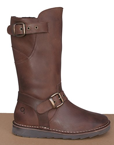 Leather Down Mid Brown Boot Oxygen Calf Stitch Dee 47ffqwS