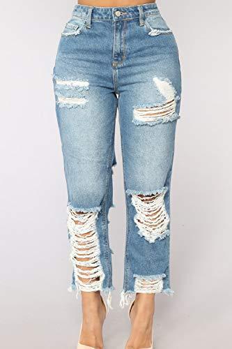 De Destoryed De Dril Pantalones Mujeres Rasgado Bolsillo Algodon Jeans con yulinge Las Azul Sueltos qzRpww6I