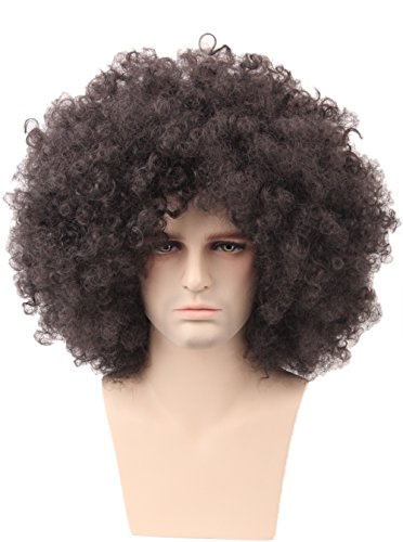 Topcosplay Brown Curly Big Afro Costume Disco Hippie Wig Funky 70s Style for Men and Women (70s Hippie Costumes)