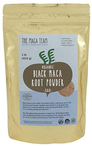 Cru Biologique Noir Poudre de Maca, Frais de Récolte, Du Pérou, du Commerce Équitable, sans Ogm, Végétalien, sans Gluten, 1 Lb - 50 Portions