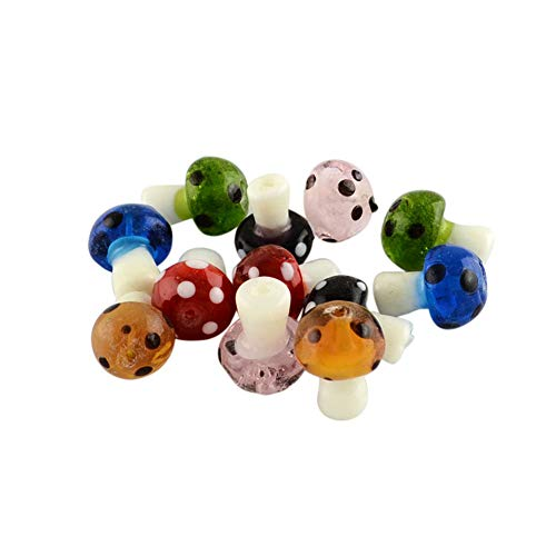 Handmade Lampwork Pendant Bead - ARRICRAFT 100pcs Mixed Handmade Lampwork Beads Mushroom Shape Loose Beads for Bracelet Jewelry Making, Mixed Color 19x14.5mm