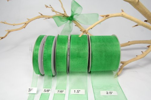AMORECREATIONS - Emerald Organza Sheer Ribbon-25 Yards X 5/8 Inches