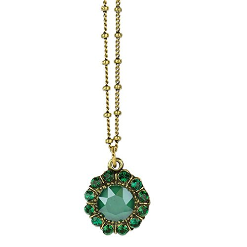 Anne Koplik Antique Brass Royal Green and Green Swarovski Crystal Princess Mila Pendant Necklace