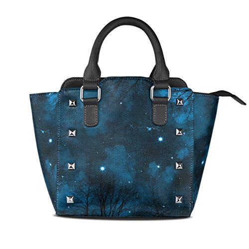 Colorful On Night Sky Nebula Tote Leather Bags Women's TIZORAX Bright Handbags Shoulder Starry Hwqn5xBaA