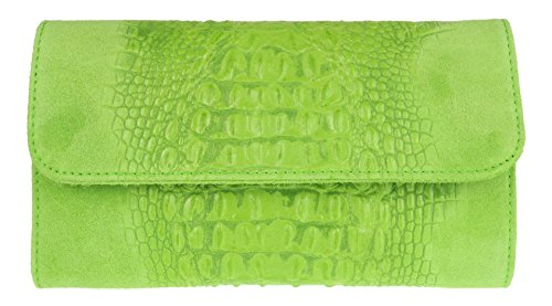 Green Suede Light Italian Leather Clutch HandBags Girly Bag Croc S4Aw1