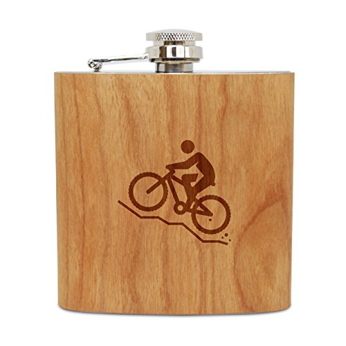 WOODEN ACCESSORIES COMPANY Cherry Wood Flask With Stainless Steel Body - Laser Engraved Flask With Mountain Bike Design - 6 Oz Wood Hip Flask Handmade In - Wooden Mountain Bike