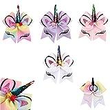 7 inch Unicorn Cheer Bows Girls Hair Bows with Elastic Band for Cheerleader Girls 4pcs
