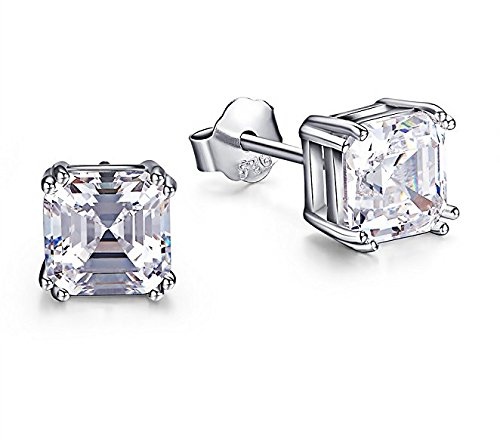 Sreema London Gorgeous Asscher Cut Square AAAAA Cubic Zirconia 8 Prong Setting 925 Sterling Silver Stud Earrings (6mm 1Ct.) (Asscher Stud Earrings)