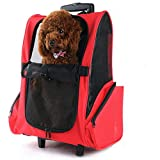 All Seasons Breathable Multifunction Pet Travel Backpack Integrated Trolley Telescopic Handle Stroller Wheel Luggage Bag