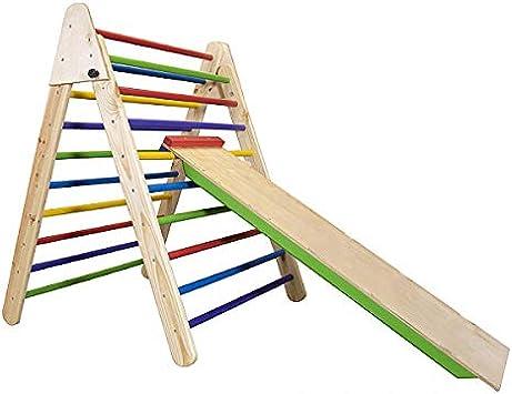 CleverWood Montessori - Escalera de Escalada de Madera, triángulo con Escalera de Escalada, Escalador Plegable, Escalador para niños pequeños, Pintado